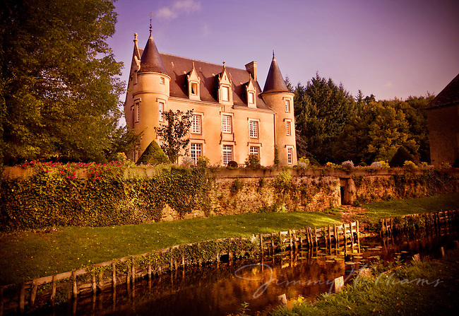 The Chateau Launay sits above a moat in the Loire Valley area of France