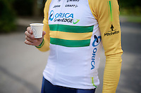 coffee time for Simon Gerrans (AUS/Orica-GreenEDGE)<br /> <br /> Tour de France 2014