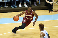 CHAPEL HILL, NC - FEBRUARY 1: Jairus Hamilton #1 of Boston College drives with the ball during a game between Boston College and North Carolina at Dean E. Smith Center on February 1, 2020 in Chapel Hill, North Carolina.