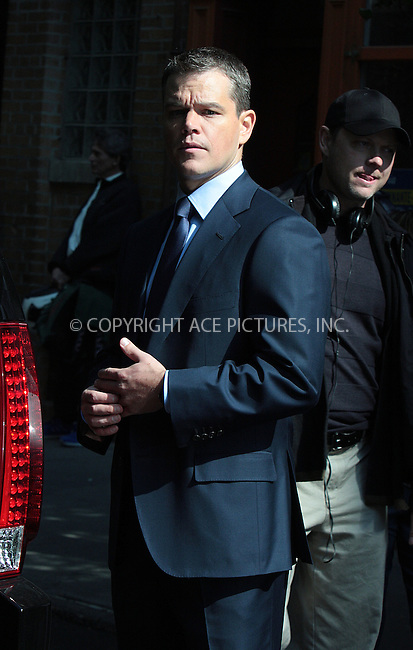 WWW.ACEPIXS.COM . . . . .  ....October 5 2009, New York City....Actor Matt Damon on the West Village set of the new movie 'The Adjustment Bureau' on October 5 2009 in New York City....Please byline: AJ Sokalner - ACEPIXS.COM.... *** ***..Ace Pictures, Inc:  ..(212) 243-8787 or (646) 769 0430..e-mail: picturedesk@acepixs.com..web: http://www.acepixs.com