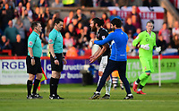 Lincoln City manager Danny Cowley, right, stops Lincoln City's Michael Bostwick speaking to Referee Darren England at half time<br /> <br /> Photographer Chris Vaughan/CameraSport<br /> <br /> The EFL Sky Bet League Two Play Off Second Leg - Exeter City v Lincoln City - Thursday 17th May 2018 - St James Park - Exeter<br /> <br /> World Copyright &copy; 2018 CameraSport. All rights reserved. 43 Linden Ave. Countesthorpe. Leicester. England. LE8 5PG - Tel: +44 (0) 116 277 4147 - admin@camerasport.com - www.camerasport.com