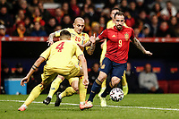 18th November 2019; Wanda Metropolitano Stadium, Madrid, Spain; European Championships 2020 Qualifier, Spain versus Romania;  Paco Alcacer (esp) covered by Mitrita and Rus of Romania - Editorial Use