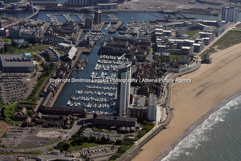 Aerial view of Meridian Quay in Swansea Marina, south Wales