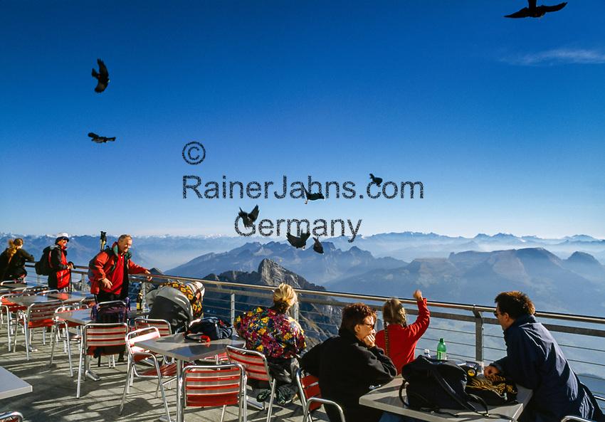 Schweiz, Kanton Appenzell Innerrhoden, Appenzellerland: Aussichtsterrasse und Restaurant auf dem Saentis   Switzerland, Canton Appenzell Innerrhoden, Appenzellerland: viewing platform and restaurant on summit Saentis