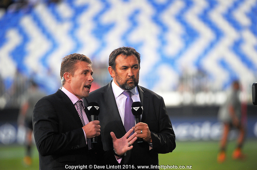 Skysport's Justin Marshall and Richard Turner commentate before the Super Rugby match between the Blues and Jaguares at North Harbour Stadium, Albany, Auckland, New Zealand on Saturday, 2 April 2016. Photo: Dave Lintott / lintottphoto.co.nz