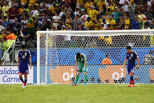 Eiji Kawashima (JPN), JUNE 24, 2014 - Football / Soccer : Eiji Kawashima of Japan looks dejected after loss goal on FIFA World Cup Brazil 2014 Group C match between Japan 1-4 Colombia at the Arena Pantanal in Cuiaba, Brazil. (Photo by AFLO)