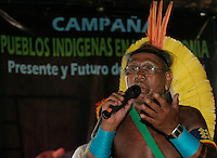Indigenous leader Paulo Kaiapo speak during the meeting at  World Social Forum, in Belem, Brazil, Wednesday, Jan. 28, 2009. The World Social Forum, the annual counter cultural gathering to protest the simultaneous World Economic Forum in Switzerland.