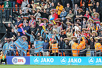 Grimsby Town fans wearing sombrero hats and with inflatables after Barnet put a ban on inflatables in the ground during of the Sky Bet League 2 match between Barnet and Grimsby Town at The Hive, London, England on 29 April 2017. Photo by David Horn.