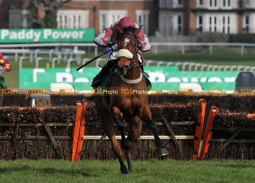 "Ambion Wood ridden by Denis O'Regan jumps the last and goes on to win the European Breeders´ Fund paddypower.com ""National Hunt"" Novices´ Handicap Hurdle Final (Grade 3) Cl1 2m4 - Horse Racing at Sandown Park, Esher, Surrey -10/03/2012 - MANDATORY CREDIT: Martin Dalton/TGSPHOTO - Self billing applies where appropriate - 0845 094 6026 - contact@tgsphoto.co.uk - NO UNPAID USE."