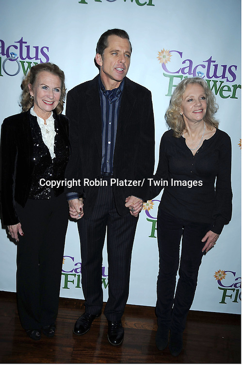 "Juliet Mills,  husband Maxwell Caulfield and Hayley Mills attending the Opening night party for .""Cactus Flower"" on March 10, 2011 at B Smith's Restaurant. The show stars Lois Robbins, Maxwell Caulfield and Jenni Barber."