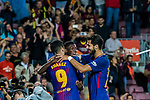 Luis Alberto Suarez Diaz (L) of FC Barcelona celebrates after scoring his goal with Ousmane Dembele (C) and Andre Filipe Tavares Gomes (R) of FC Barcelona during the La Liga match between FC Barcelona vs RCD Espanyol at the Camp Nou on 09 September 2017 in Barcelona, Spain. Photo by Vicens Gimenez / Power Sport Images