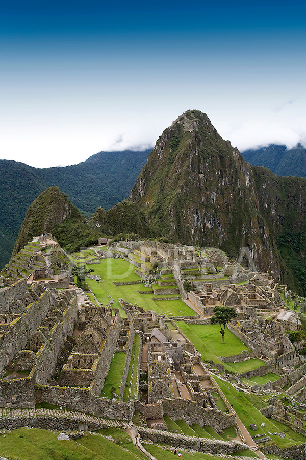 The ancient Inca ruins of Machu Picchu, the end of the Inca Trail in Peru.