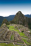 The ancient Inca ruins of Machu Picchu, the end of the Inca Trail in Peru.