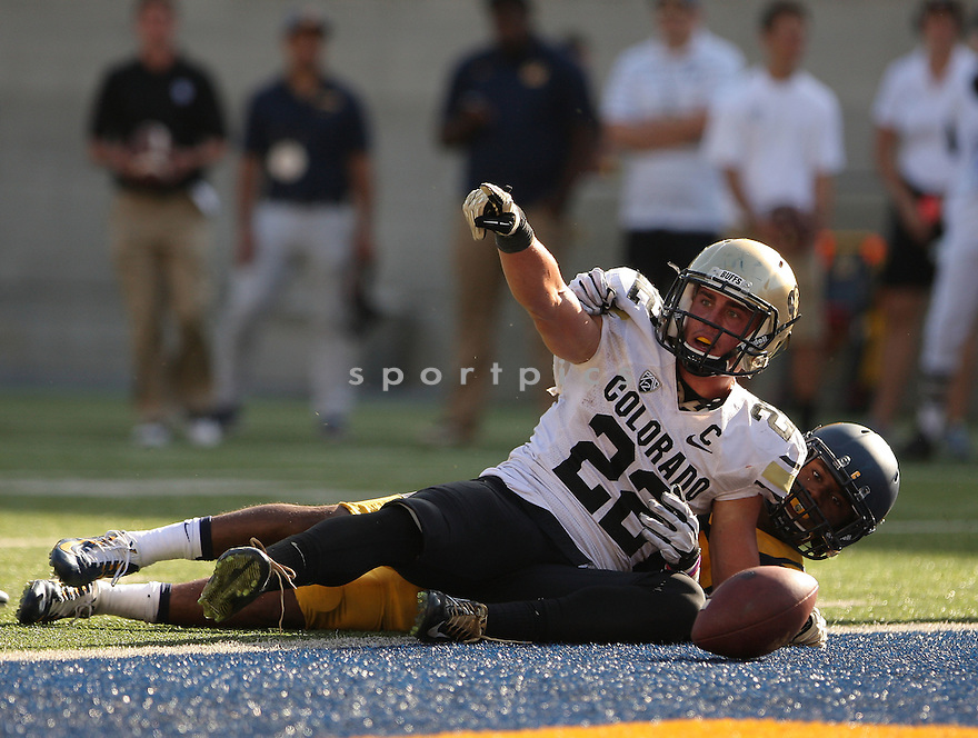 Colorado Buffaloes Nelson Spruce (22) during a game against the California Golden Bears on September 27, 2014 at Memorial Stadium in Berkeley, CA. California beat Colorado 59-56.