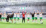 Stockholm 2015-04-11 Fotboll Damallsvenskan Hammarby IF DFF - Mallbackens IF Sunne  :  <br /> Hammarbys spelare jublar med lagkamrater efter matchen mellan Hammarby IF DFF och Mallbackens IF Sunne  <br /> (Foto: Kenta J&ouml;nsson) Nyckelord:  Fotboll Damallsvenskan Dam Damer Tele2 Arena Hammarby HIF Bajen Mallbacken jubel gl&auml;dje lycka glad happy