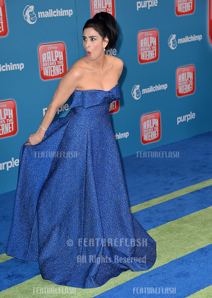 """LOS ANGELES, CA. November 05, 2018: Sarah Silverman at the world premiere of """"Ralph Breaks The Internet"""" at the El Capitan Theatre.<br /> Picture: Paul Smith/Featureflash"""