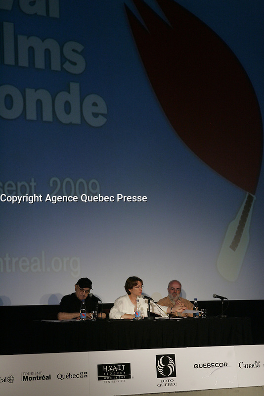 Montreal world film Festival Press conference with serge Losique (L), Danielle cauchard  (R)  on August 11  2009 <br /> <br /> file photo : Agence Quebec Presse