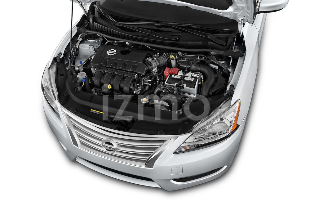 Car Stock2014 Nissan Sentra SV 4 Door Sedan Engine high angle detail view