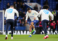 Andreas Christensen of Chelsea warms up ahead of kick-off wearing the Kick Off a Conversation T-Shirt during Chelsea vs Manchester United, Premier League Football at Stamford Bridge on 17th February 2020