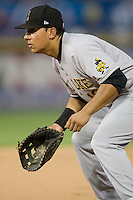 Salt Lake Bees first baseman Efren Navarro #16 on defense during a Pacific Coast League game against the Round Rock Express at The Dell Diamond in Round Rock, Texas on August 6, 2011. Round Rock defeated Salt Lake 3-1.  (Andrew Woolley/Four Seam Images)