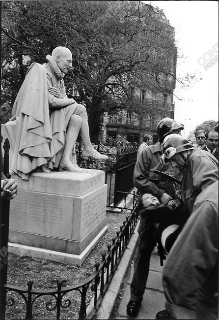 The 1968 May Events, Montaigne statue, rue des Ecoles, Paris, France, May 6, 1968