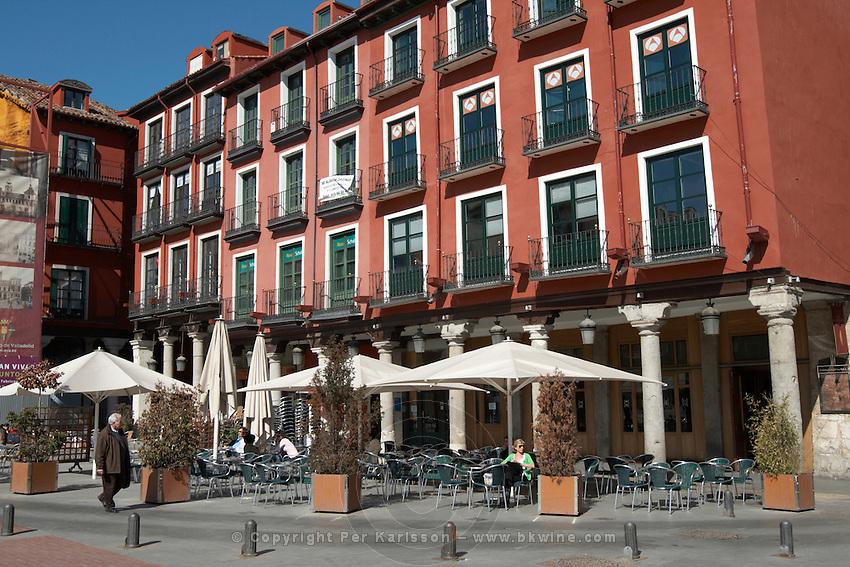 apartment buildings restaurant terrace plaza mayor Valladolid spain castile and leon