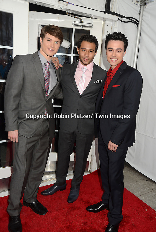 "Andrew Trischitta, Corbin Bleu and Robert Gorrie attend the New York Premiere of ""All My Children"" and. ""One Life to Live "" on April 23, 2013 at NYU Skirball Theatre in New York City. Prospect Park is producing the shows and they will air on www.hulu.com starting on April 29, 2013."