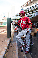 Ryan Boldt (21) of the Nebraska Cornhuskers looks on during the 2015 Big Ten Conference Tournament between the Illinois Fighting Illini and Nebraska Cornhuskers at Target Field on May 20, 2015 in Minneapolis, Minnesota. (Brace Hemmelgarn/Four Seam Images)