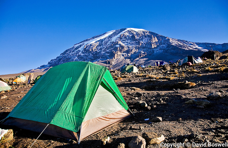 Karanga Camp, with a glacier crowned Kibo stnding watch in the background.