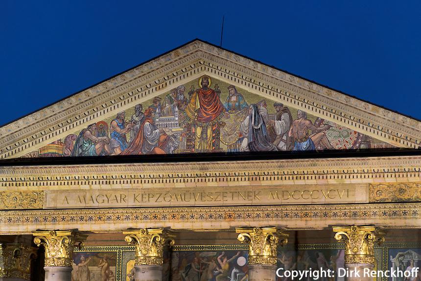 Kunsthalle Mücsarnok am Heldenplatz Hösök tere, Budapest, Ungarn, UNESCO-Weltkulturerbe