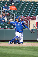 J.C. Boscan (7) of the Omaha Storm Chasers on defense against the Memphis Redbirds in Pacific Coast League action at Werner Park on April 22, 2015 in Papillion, Nebraska.  (Stephen Smith/Four Seam Images)