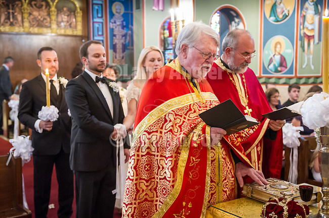 Orthodox wedding of Jeff and Lindsey Gray on their 10th civil marriage anniversary at the Dormition of the Theotokos Serbian Orthodox Church, Fair Oaks, Calif. with Fr. Dane and Fr. William, clergy.