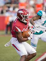 Hawgs Illustrated/BEN GOFF <br /> De'Vion Warren, Arkansas wide receiver, returns a kickoff from Coastal Carolina in the second quarter Saturday, Nov. 4, 2017, at Reynolds Razorback Stadium in Fayetteville.