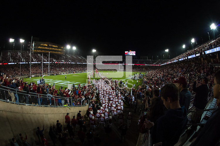 Stanford, CA - October 3, 2015: Stadium during the runout before Stanford's game against Arizona. The Cardinal defeated the Wildcats 55-17.