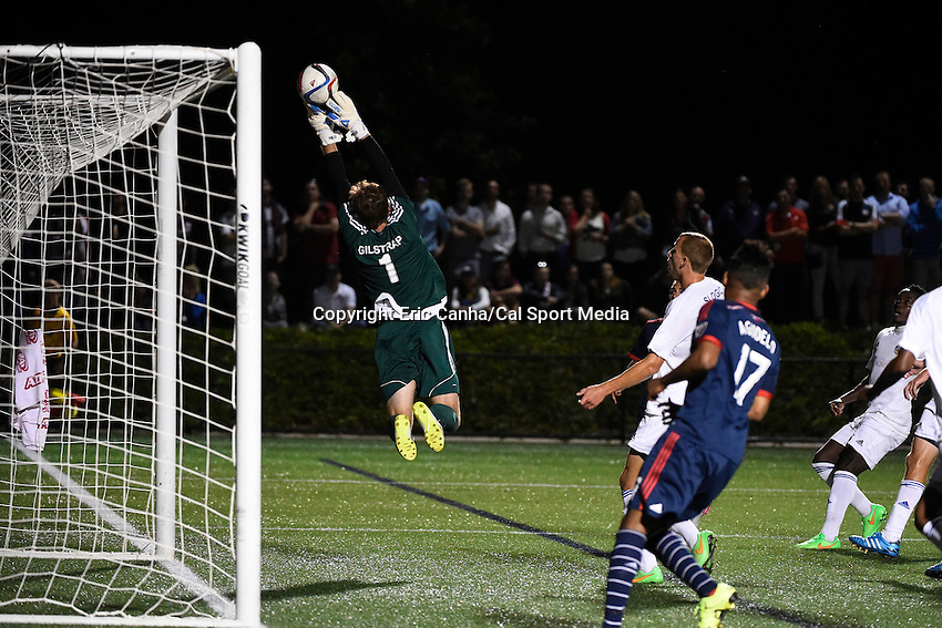 June 17, 2015 - Boston, Massachusetts, U.S. - Charlotte Independence goalkeeper Hunter Gilstrap (1) makes a save  during the US Open Cup fourth round between the New England Revolution and the Charlotte Independence held at Harvard's Soldiers Field Soccer Stadium. The Independence defeated the Revolution 1-0.  Eric Canha/CSM