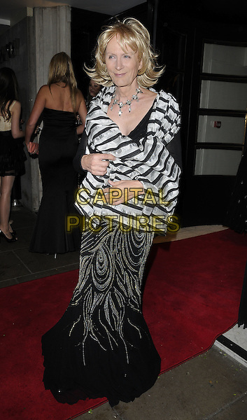 Richard O'Brien .Attending the Born Free Foundation Gala Dinner, The Savoy Hotel, London, England, UK, 17th June 2011..full length black dress drag queen in  cross dresser dressing long maxi striped grey gray wrap white  patterned wig .CAP/CAN.©Can Nguyen/Capital Pictures.
