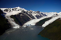Aerial Cascade Glacier (L), Barry Glacier (C) and Coxe Glacier (R), Harriman Fiord, Prince William Sound, Chugach National Forest, Alaska.