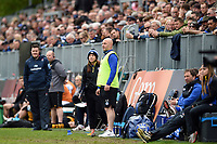 Sophie Bennett and Allan Ryan of Bath Rugby look on from the sidelines. Gallagher Premiership match, between Bath Rugby and Wasps on May 5, 2019 at the Recreation Ground in Bath, England. Photo by: Patrick Khachfe / Onside Images