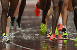 Running shoes and the rainMo Farah (GBR) red and gold spikes. IAAF world athletics championships. London Olympic stadium. Queen Elizabeth Olympic park. Stratford. London. UK. 09/08/2017. ~ MANDATORY CREDIT Garry Bowden/SIPPA - NO UNAUTHORISED USE - +44 7837 394578