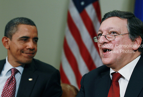 European Commission President Jose Manuel Barroso (R) speaks while United States President Barack Obama listens during a meeting at the White House on Monday, November 28, 2011 in Washington, DC. Obama hosted a meeting with members of the European Union delegation that is focused on the European debt crisis. .Credit: Mark Wilson / Pool via CNP