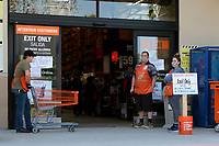 LOS ANGELES - APR 11:  Home Depot Store and Signage at the Businesses reacting to COVID-19 at the Hospitality Lane on April 11, 2020 in San Bernardino, CA