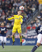Foxborough, Massachusetts - November 9, 2014: First half action. In Major League Soccer (MLS) Eastern Conference aggregate goal semifinal, the New England Revolution (blue/white) vs Columbus Crew (yellow), 1-0 (halftime) (aggregate 4-2), at Gillette Stadium.