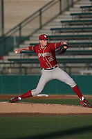 Sean Hartnett (36) of the Washington State Cougars pitches during a game against the Southern California Trojans at Dedeaux Field on March 13, 2015 in Los Angeles, California. Southern California defeated Washington State, 10-3. (Larry Goren/Four Seam Images)
