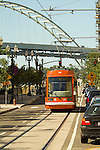 Portland streetcar in the Pearl District of Portland, Oregon.