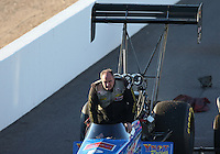 Feb. 22, 2013; Chandler, AZ, USA; NHRA top fuel dragster driver Mike Stasburg during qualifying for the Arizona Nationals at Firebird International Raceway. Mandatory Credit: Mark J. Rebilas-