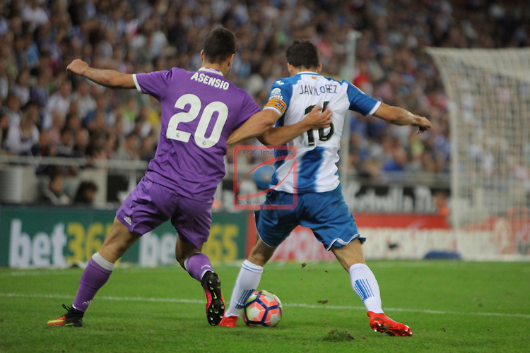 League Santander 2016/2017. Game: 4.<br /> RCD Espanyol vs R. Madrid: 0-2.<br /> Marco Asensio vs Javi Lopez.