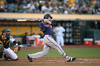 OAKLAND, CA - JULY 29:  Joe Mauer #7 of the Minnesota Twins bats against the Oakland Athletics during the game at the Oakland Coliseum on Saturday, July 29, 2017 in Oakland, California. (Photo by Brad Mangin)