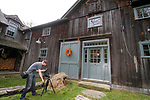 """ROXBURY, CT - 15 OCTOBER 2017 -101517JW03.jpg -- Cameraman Jay Smith shoots exterior video of Ed Cady's home that will be featured on an episode of HGTV's """"You Live in What?"""" Sunday morning. Jonathan Wilcox Republican-American"""