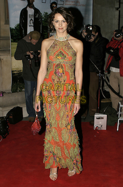 BEVERLEY TURNER.The British Fashion Awards, Victoria and Albert (V&A) Museum, London, November 2nd 2004..full length orange green patterned dress.Ref: AH.www.capitalpictures.com.sales@capitalpictures.com.©Capital Pictures.