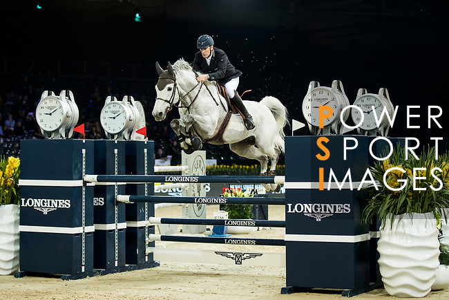 Roger Yves Bost of France riding Pegase du Murier competes in the Longines Speed Challenge during the Longines Masters of Hong Kong at AsiaWorld-Expo on 10 February 2018, in Hong Kong, Hong Kong. Photo by Ian Walton / Power Sport Images